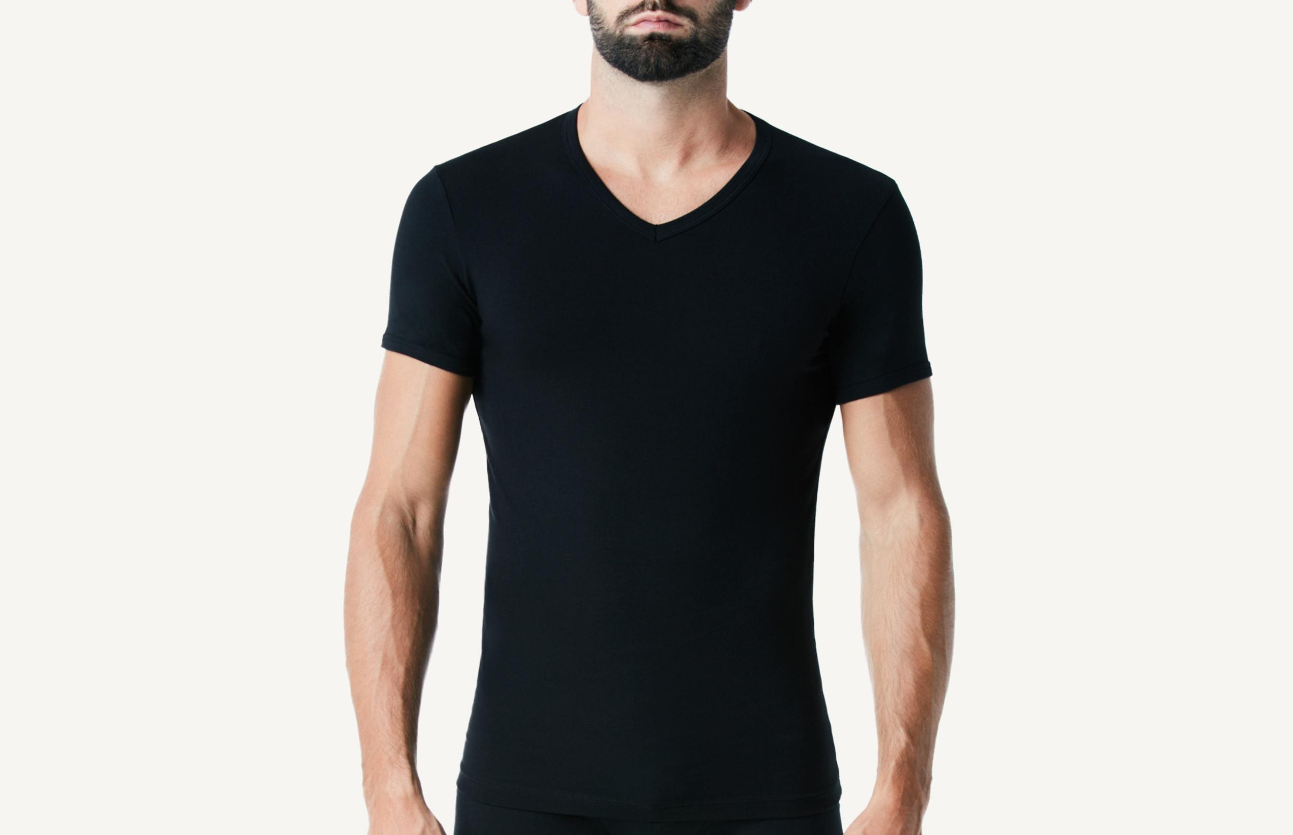 intimissimi - Halbarm-Shirt mit V-Ausschnitt aus elastischer Baumwolle