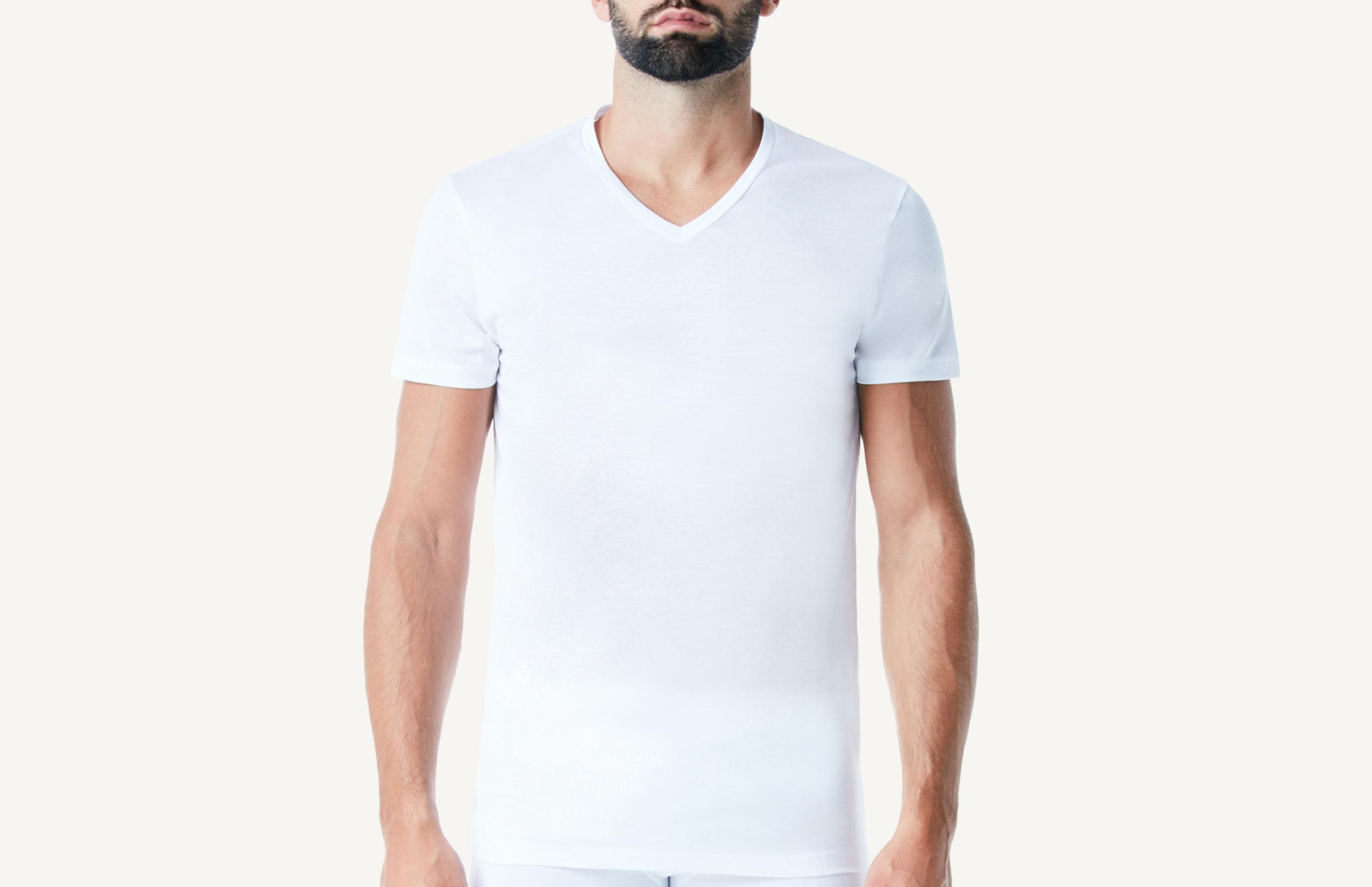 intimissimi - Halbarm-Shirt mit V-Ausschnitt aus mercerisierter Baumwolle