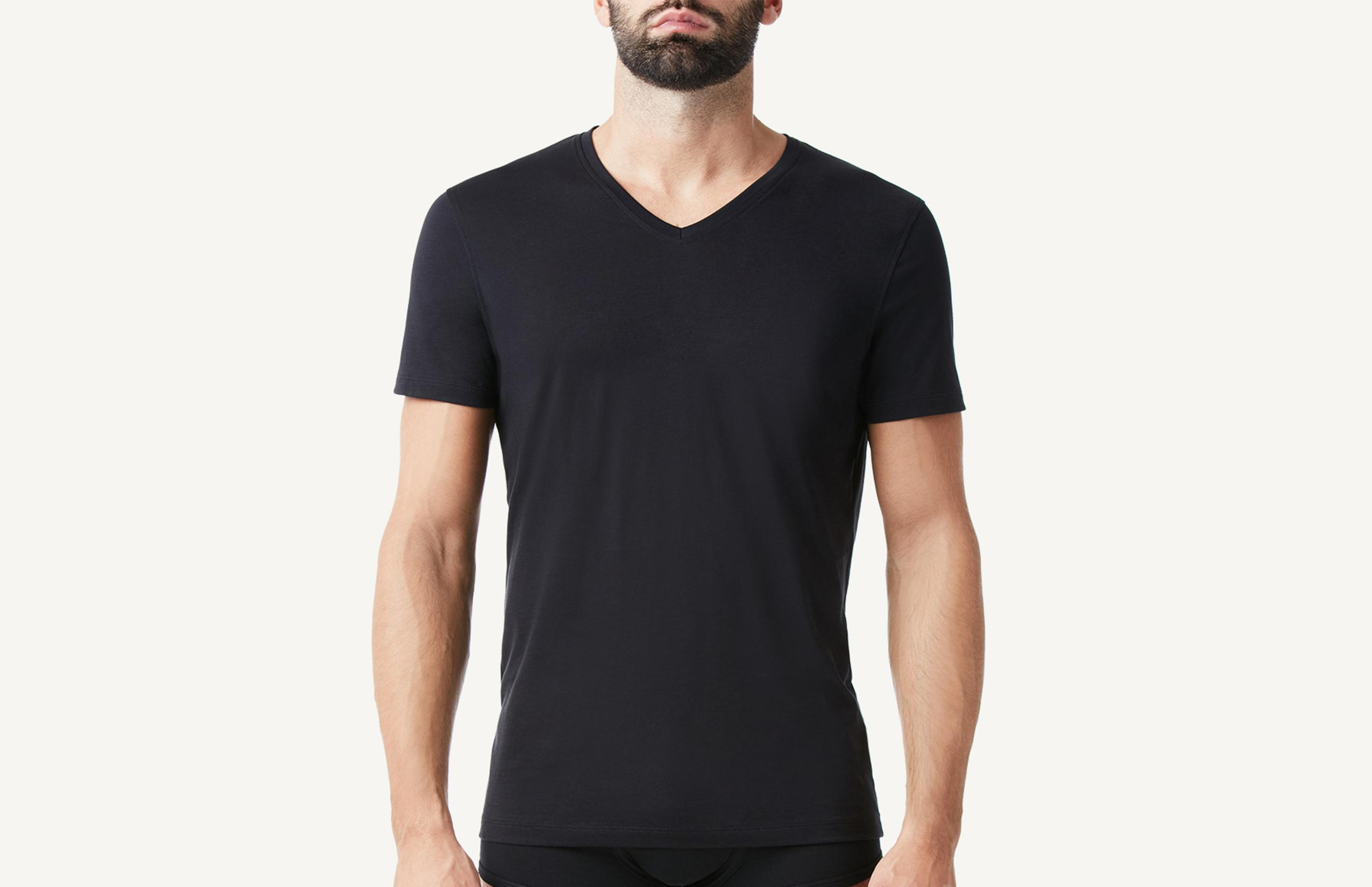 intimissimi - Kurzarm-T-Shirt mit V-Ausschnitt aus Supima®-Baumwolle Extrafein