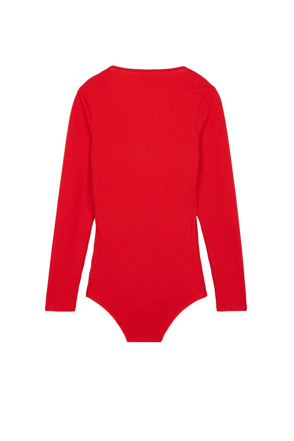 Viscose Long Sleeve Bodysuit with Small Buttons