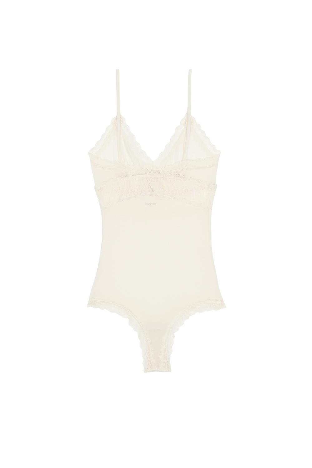 Viscose and Silk Bodysuit with Lace Inserts