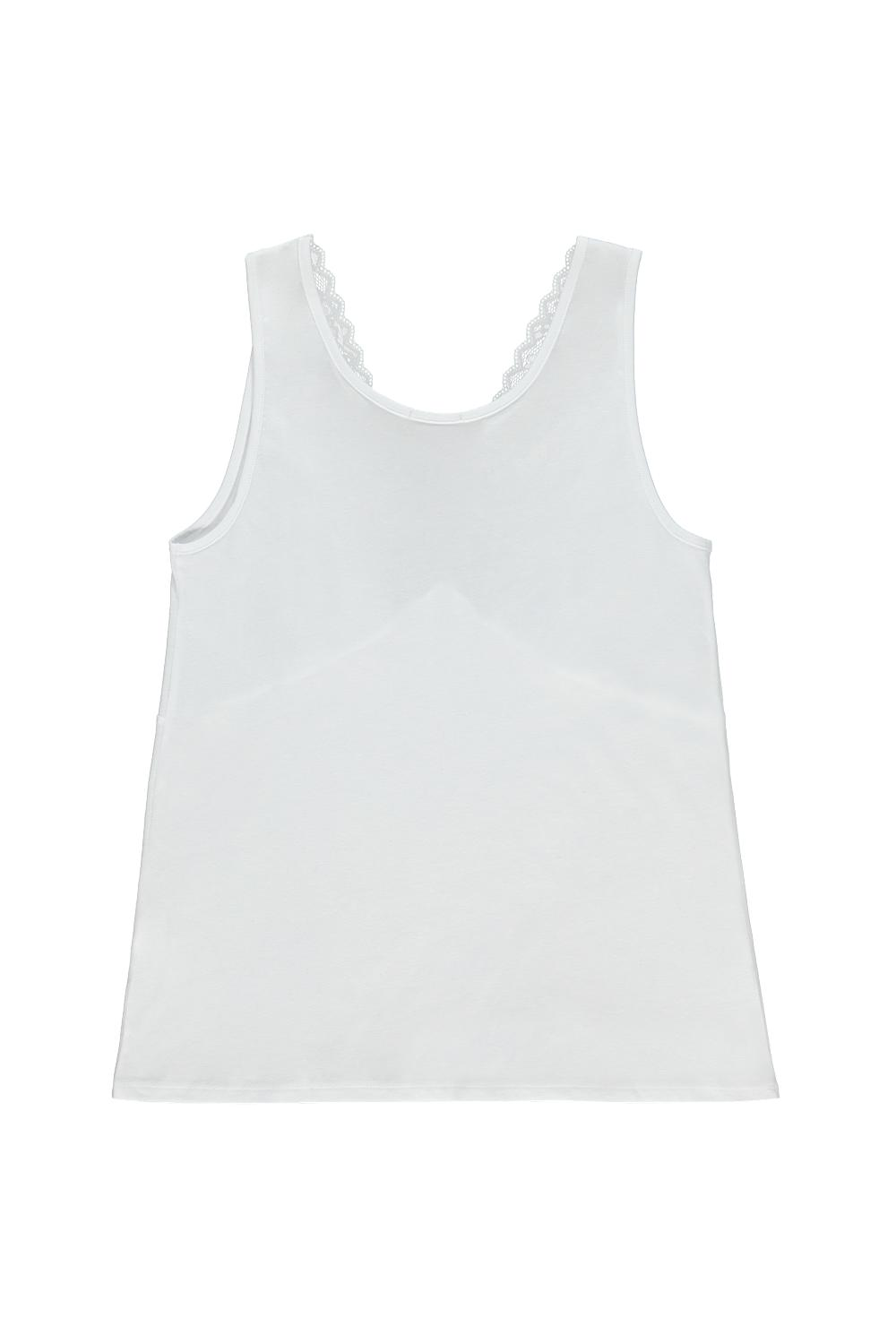 Cotton Vest Top with Lace Neckline