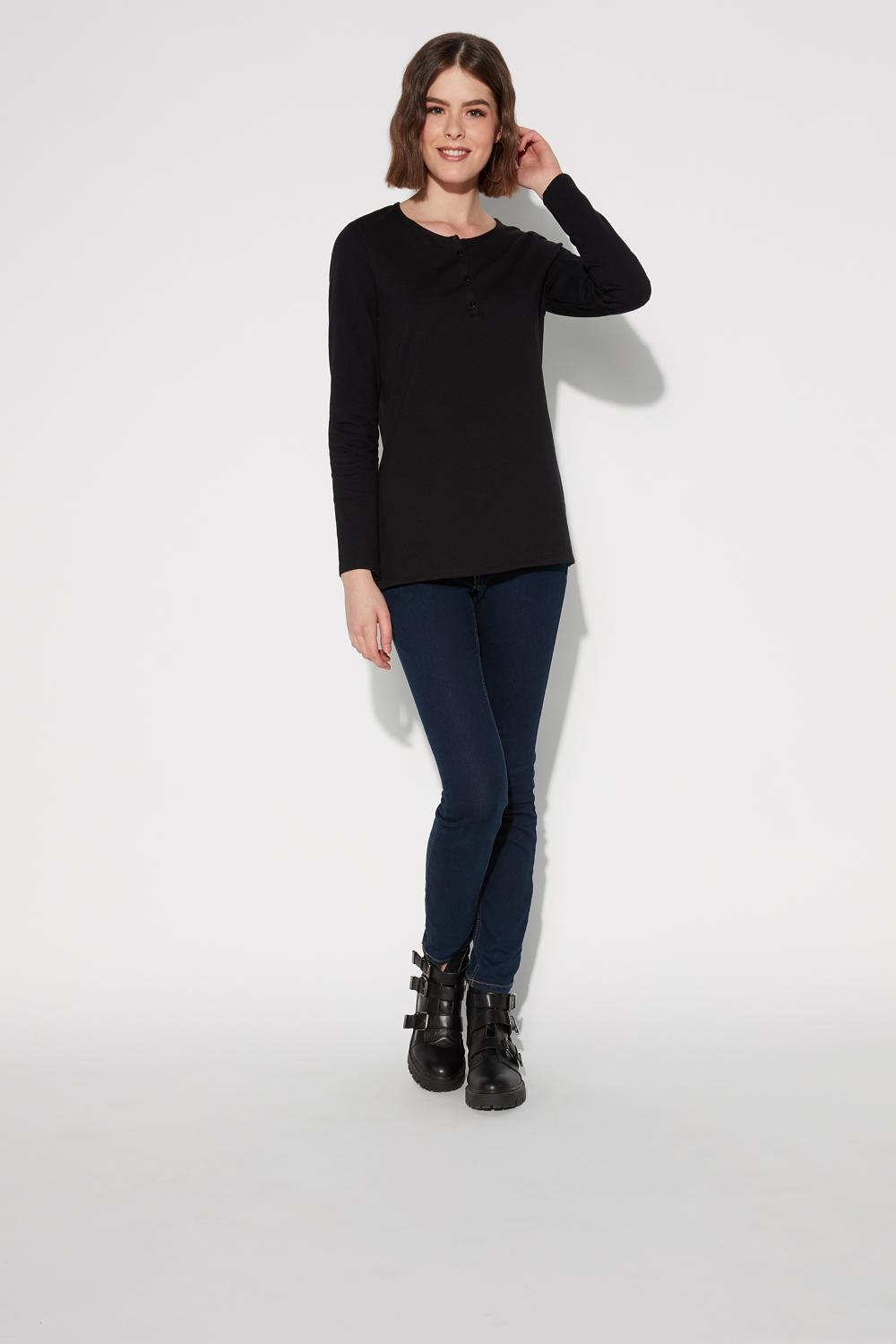 Long-Sleeved Thermal Cotton Grandad Top