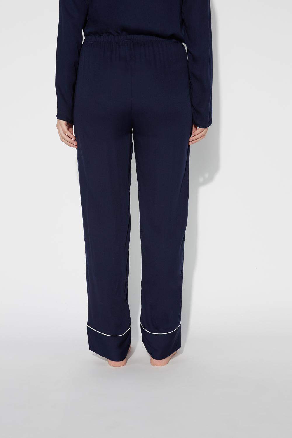Long Soft Viscose Trousers With Piping Details