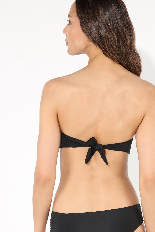 Plain Padded Bandeau Bikini Top with Knot Detail