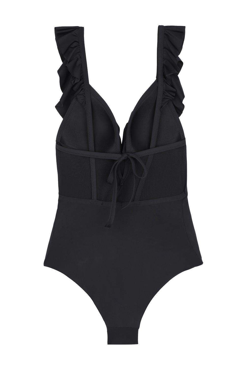One-Piece Padded Triangle Swimsuit with Ruffle
