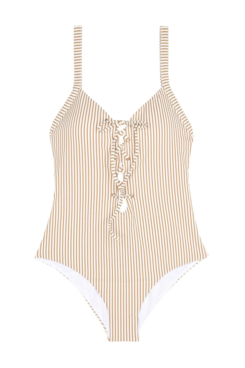 Glam Stripes One-Piece Padded Triangle Swimsuit with Laces on Neckline