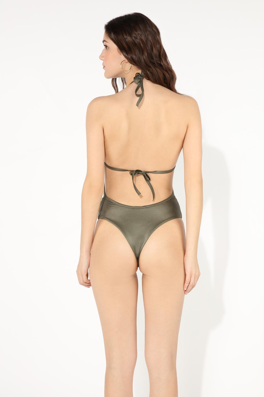 Shiny Lace Insert One-Piece Swimsuit