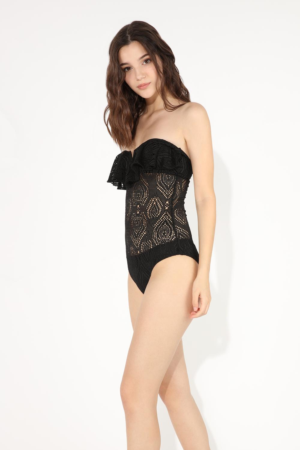 One-Piece V-Neck Bandeau Swimsuit with Jacquard Ruffle