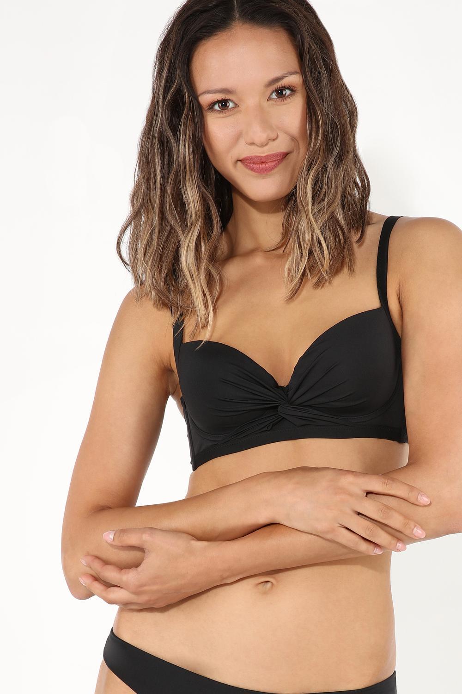 Balconette-Bikini Knoten einfarbig