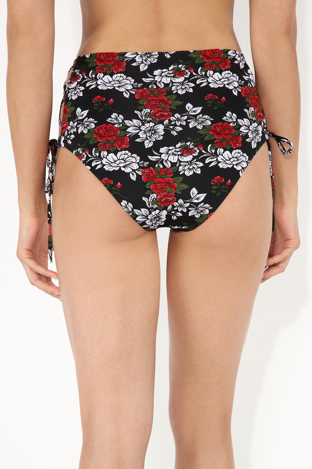 Floral Sound High-Waisted Bikini Bottoms with Side Crossover
