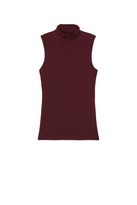 Sleeveless High-Neck Top in Viscose and Merino Wool