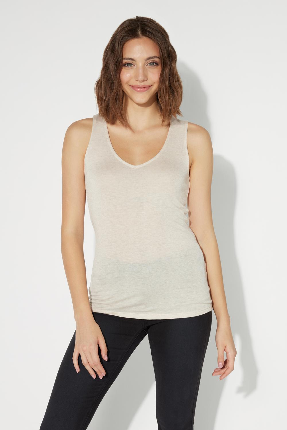 V-Neck Camisole in Viscose and Merino Wool