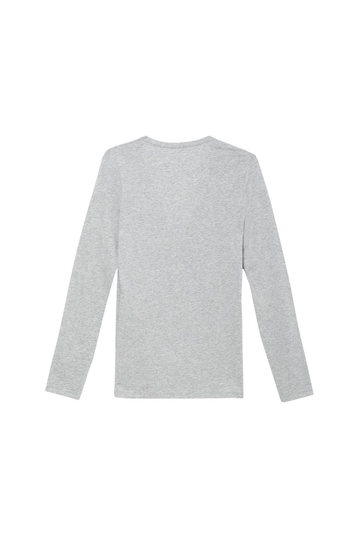 Camiseta de Manga Larga con Escote V de Algodón Elastizado