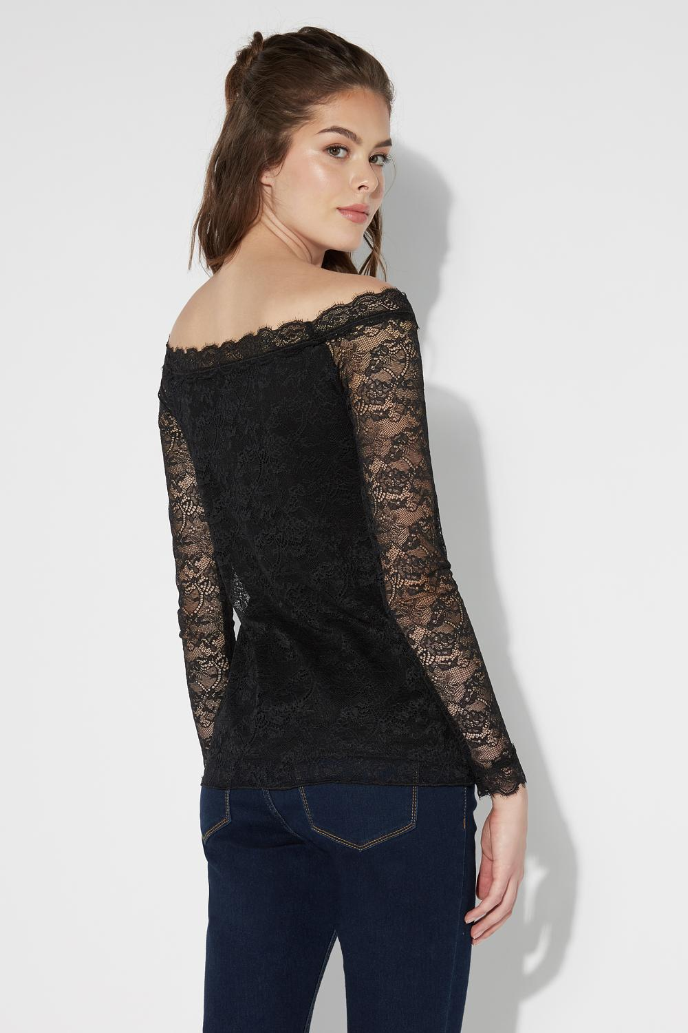 Long-Sleeved Lace Top with Dropped Shoulders