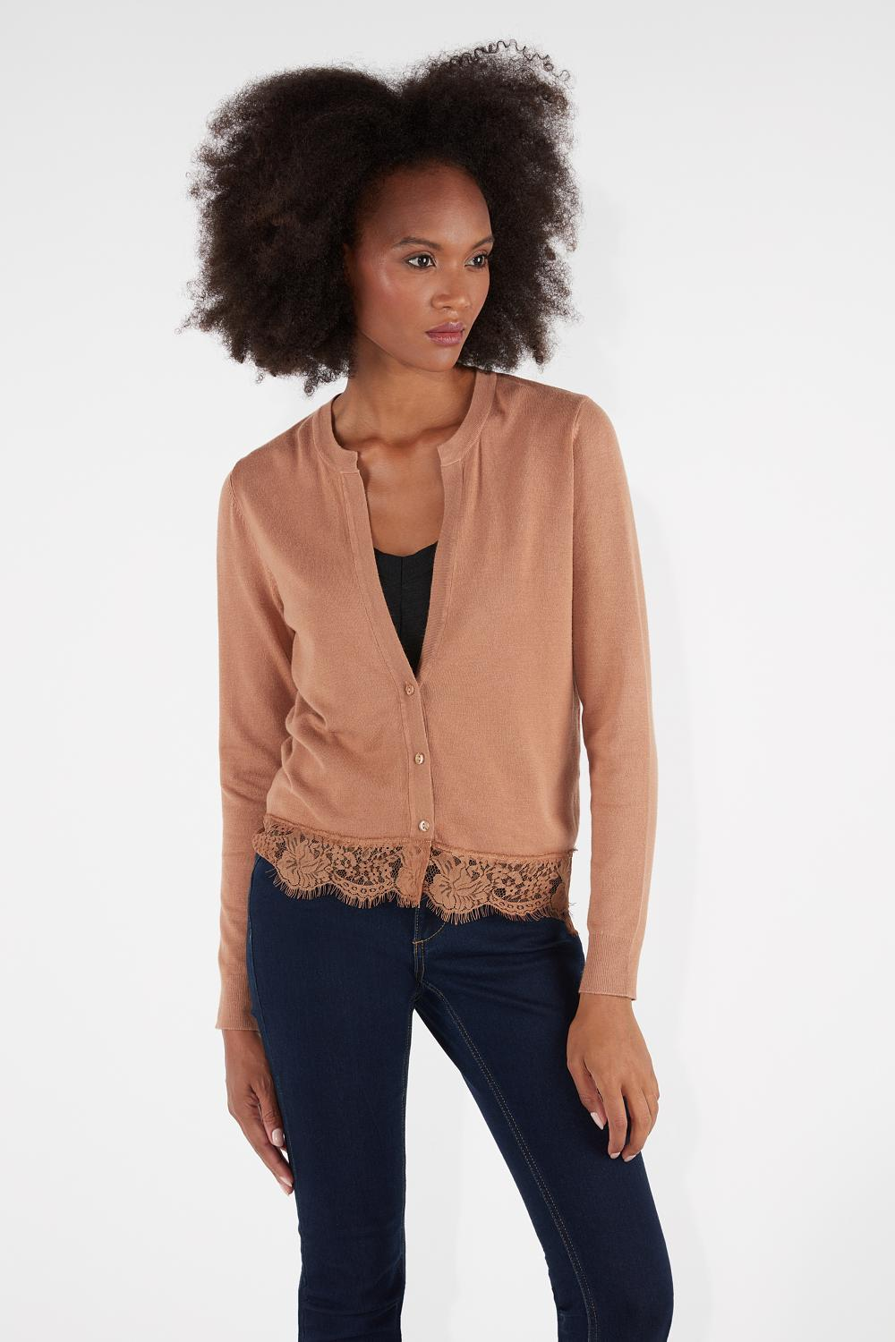 Long-Sleeved Short Cardigan with Lace Insert