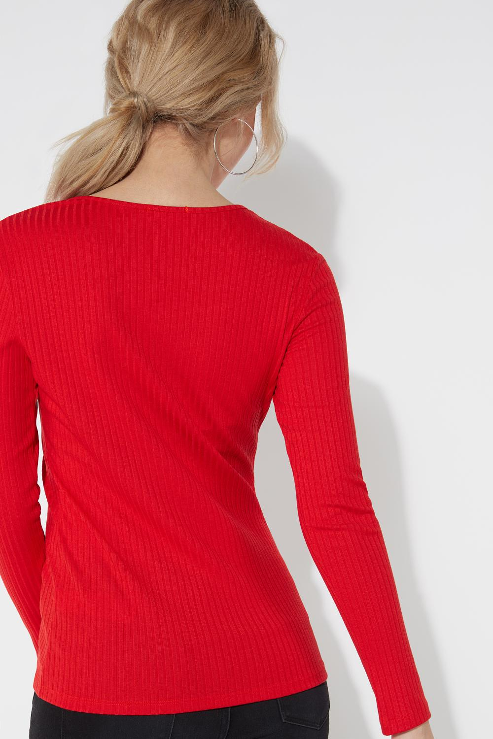 Long Sleeve Viscose Top with Small Buttons