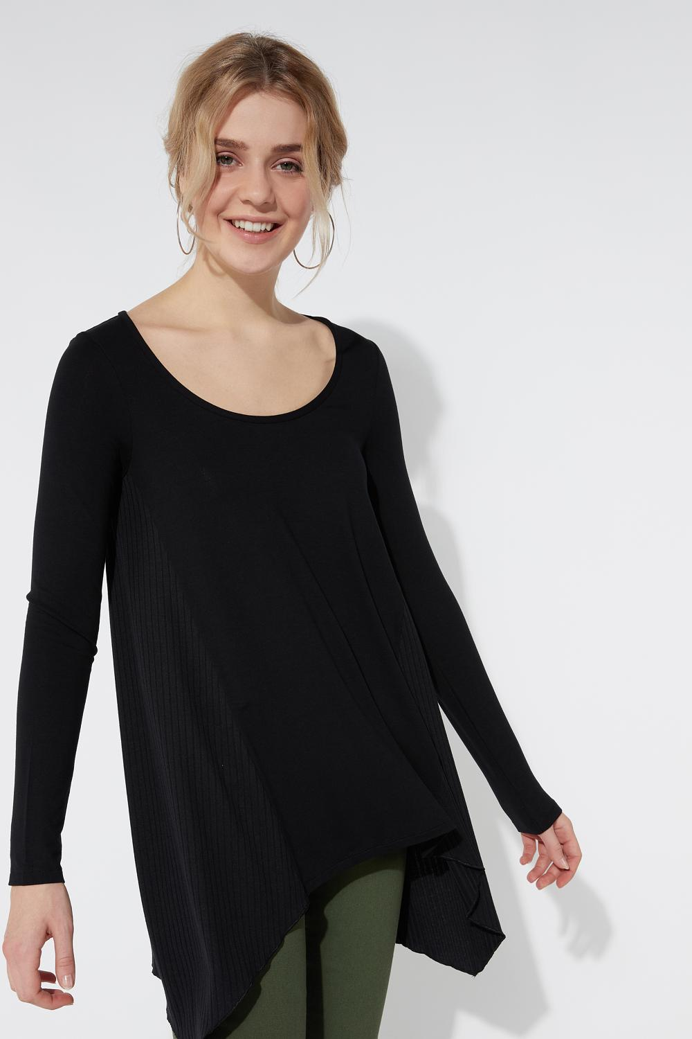 Long Sleeve Top with Ribbed Inserts