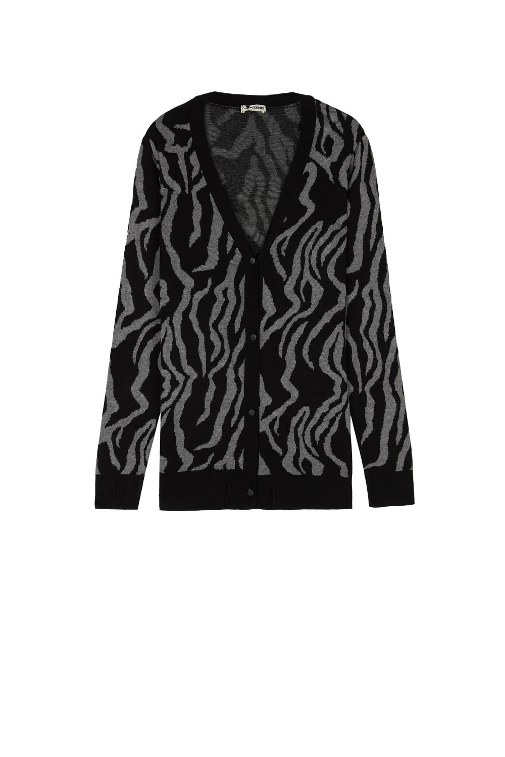 Long-Sleeved Jacquard Cardigan