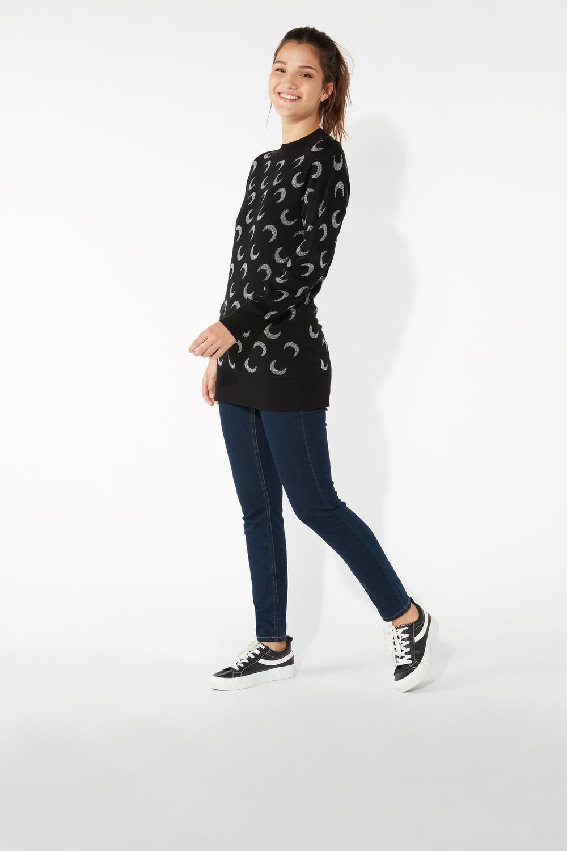 Long-Sleeved Round-Neck Jacquard Sweater