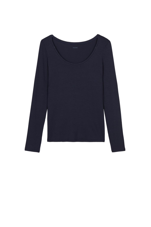 T-Shirt Manches Longues Encolure Ronde Viscose