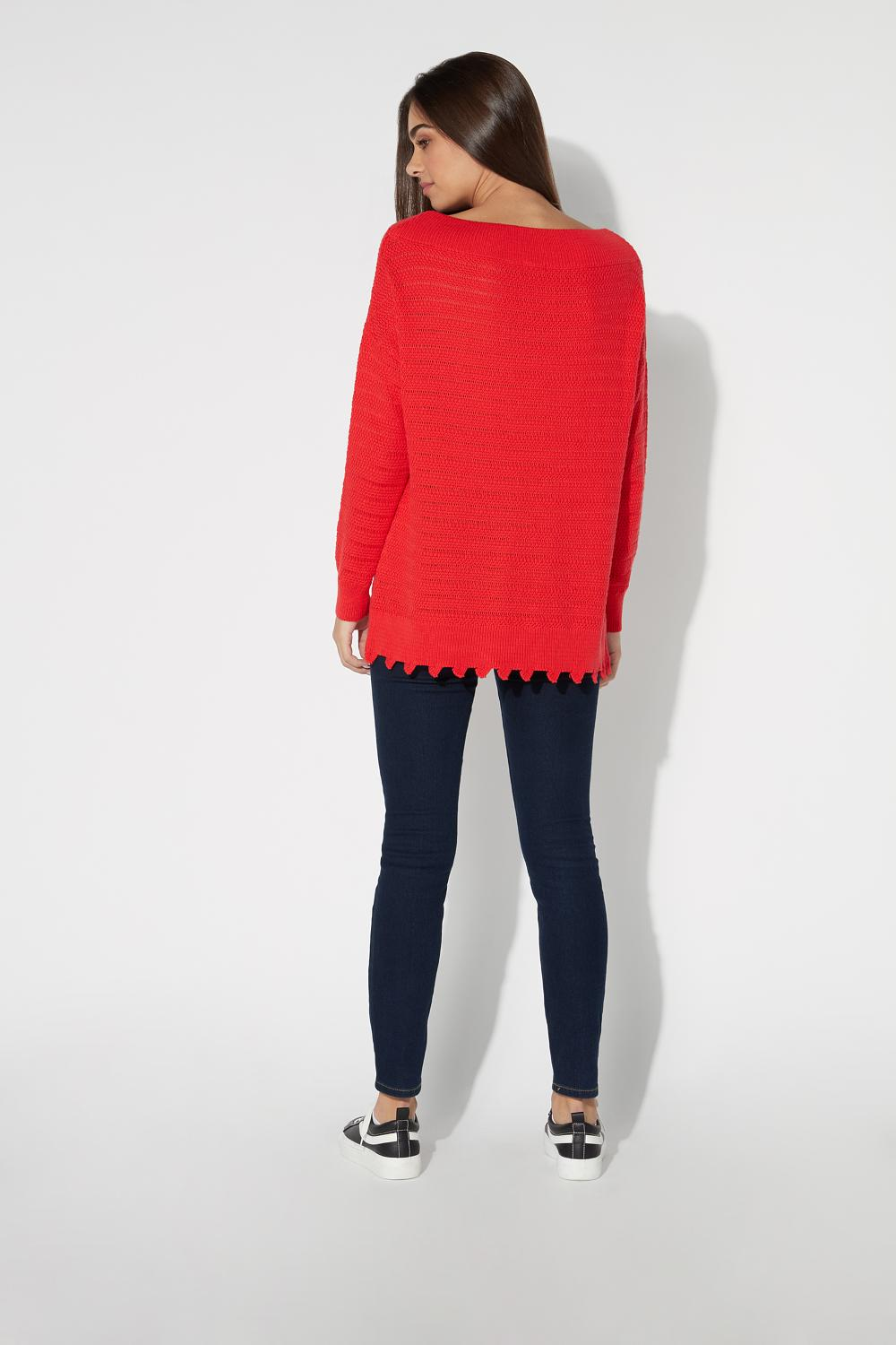 Long-Sleeved Openwork Top with Picot Hem