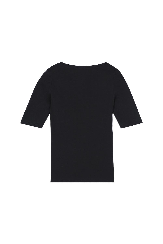 Short-Sleeve Scoop-Neck Top in Cotton