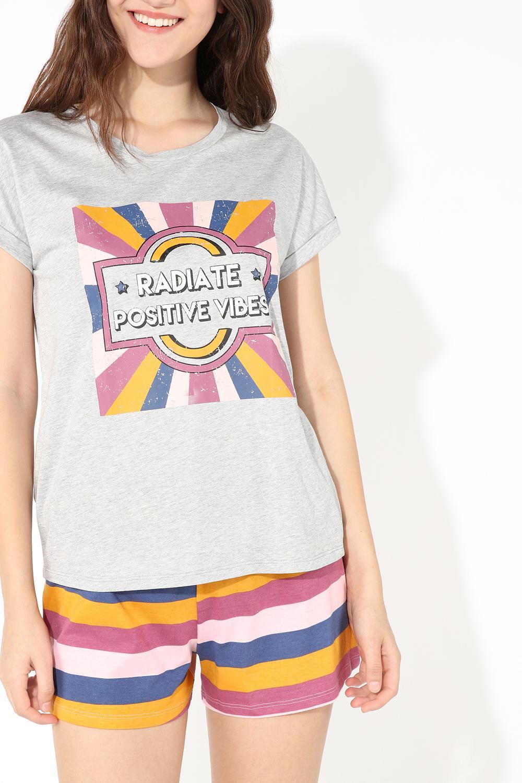 Short Positive Vibes Print Pajamas