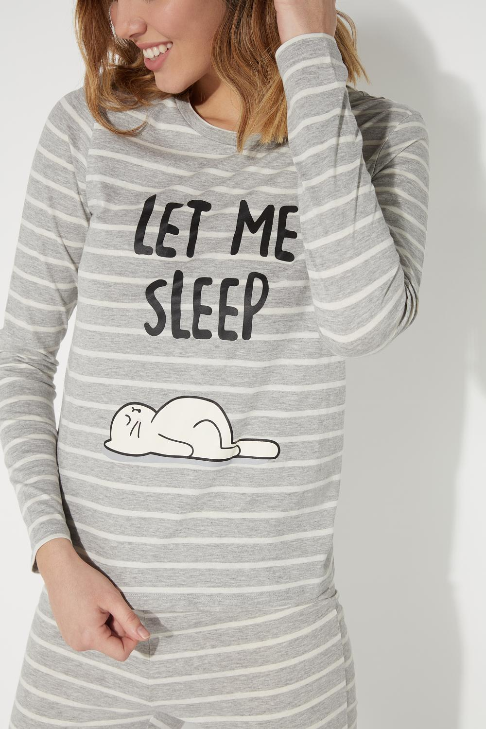Long Let-Me-Sleep Print Pyjamas