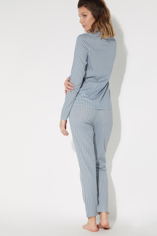 Long Open Pinstripe Pyjamas