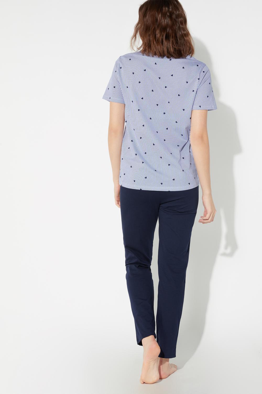 Long Heart Stripes Print Pyjamas