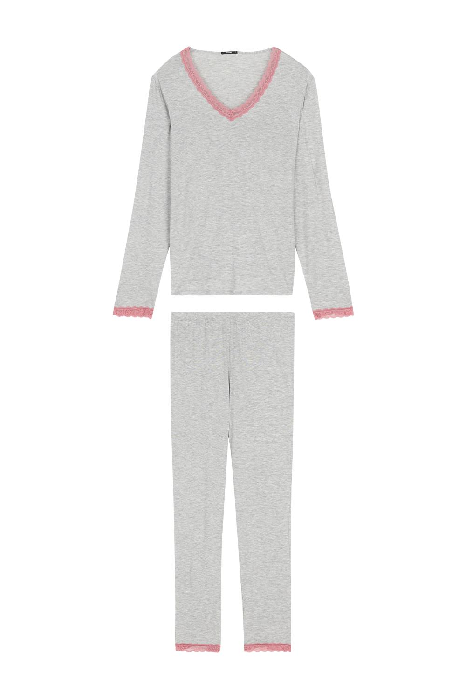 Long V Neck Pyjamas in Viscose and Lace