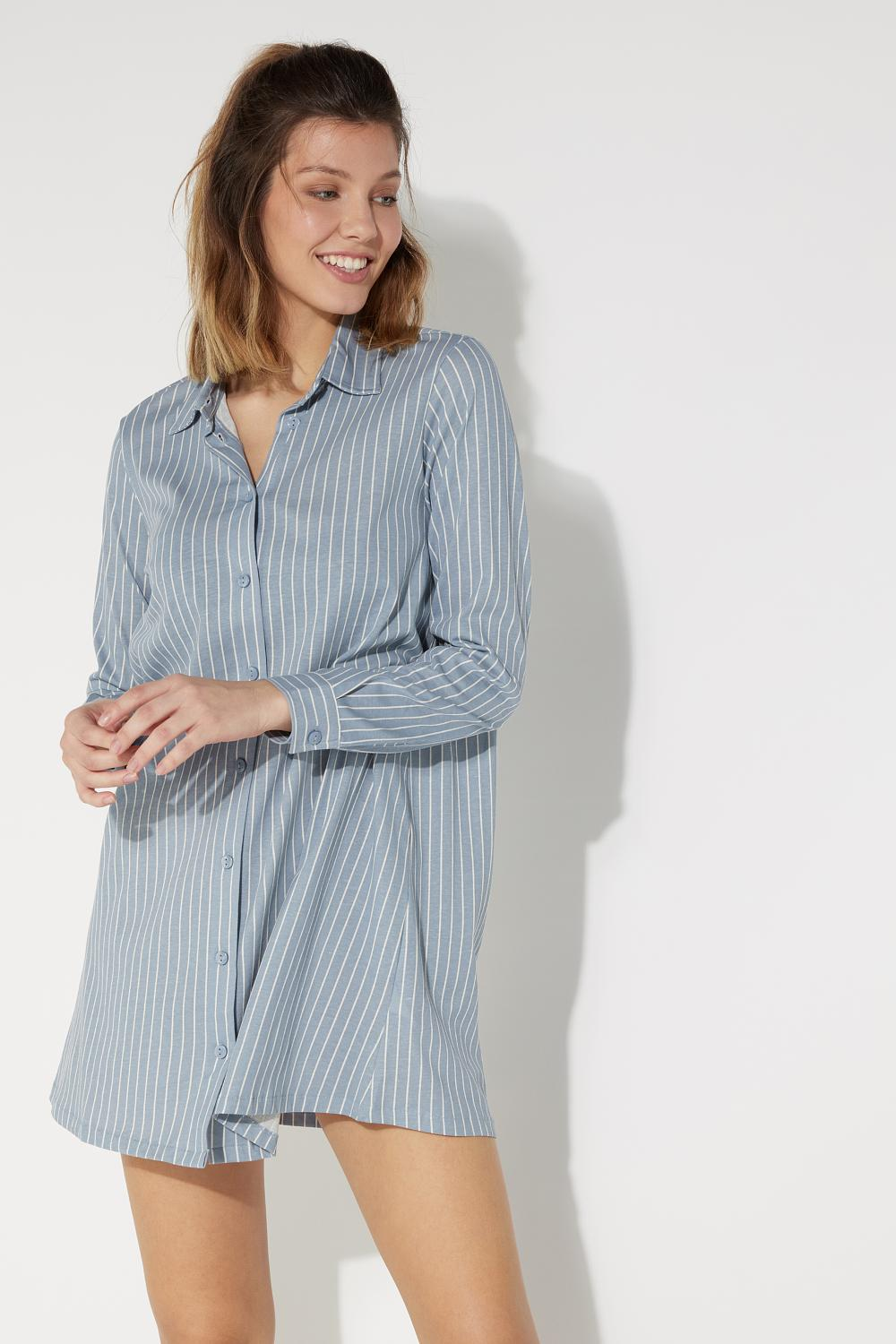 Open Pinstripe Print Nightgown