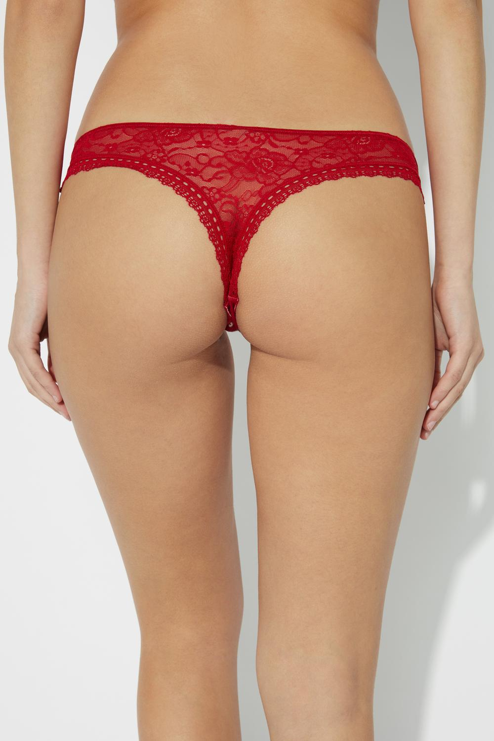 Lace and Raw-Cut Cotton Cheeky