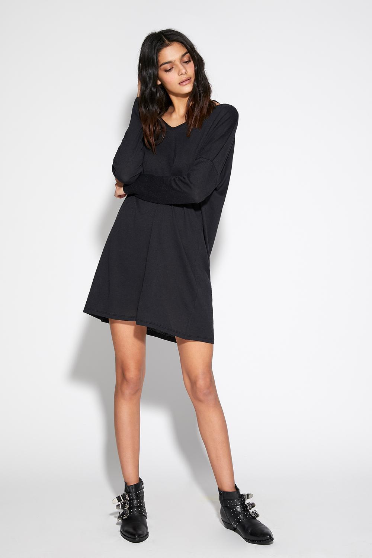 Long-Sleeved Fully-Fashioned Slub Knit V-Neck Dress