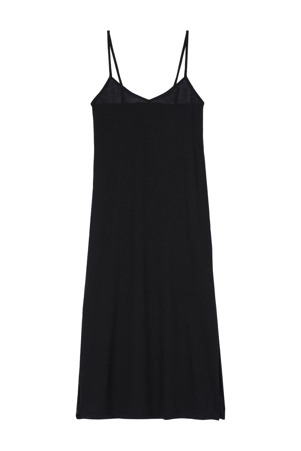 Long Sleeveless Fully-Fashioned Slub Knit Dress