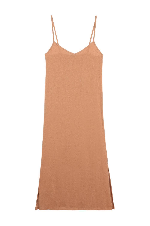 Long Sleeveless Fully-Fashioned Slub Knit Dress