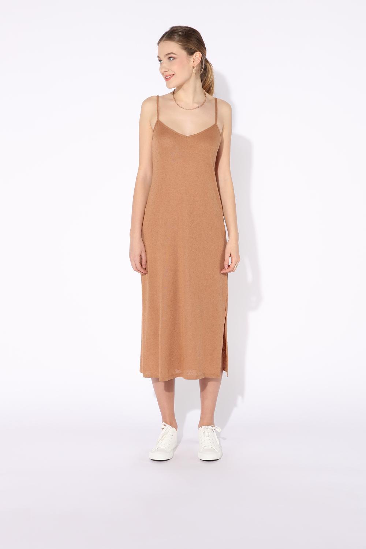 Langes, ärmelloses Kleid aus Lochstrick mit Knopfleiste