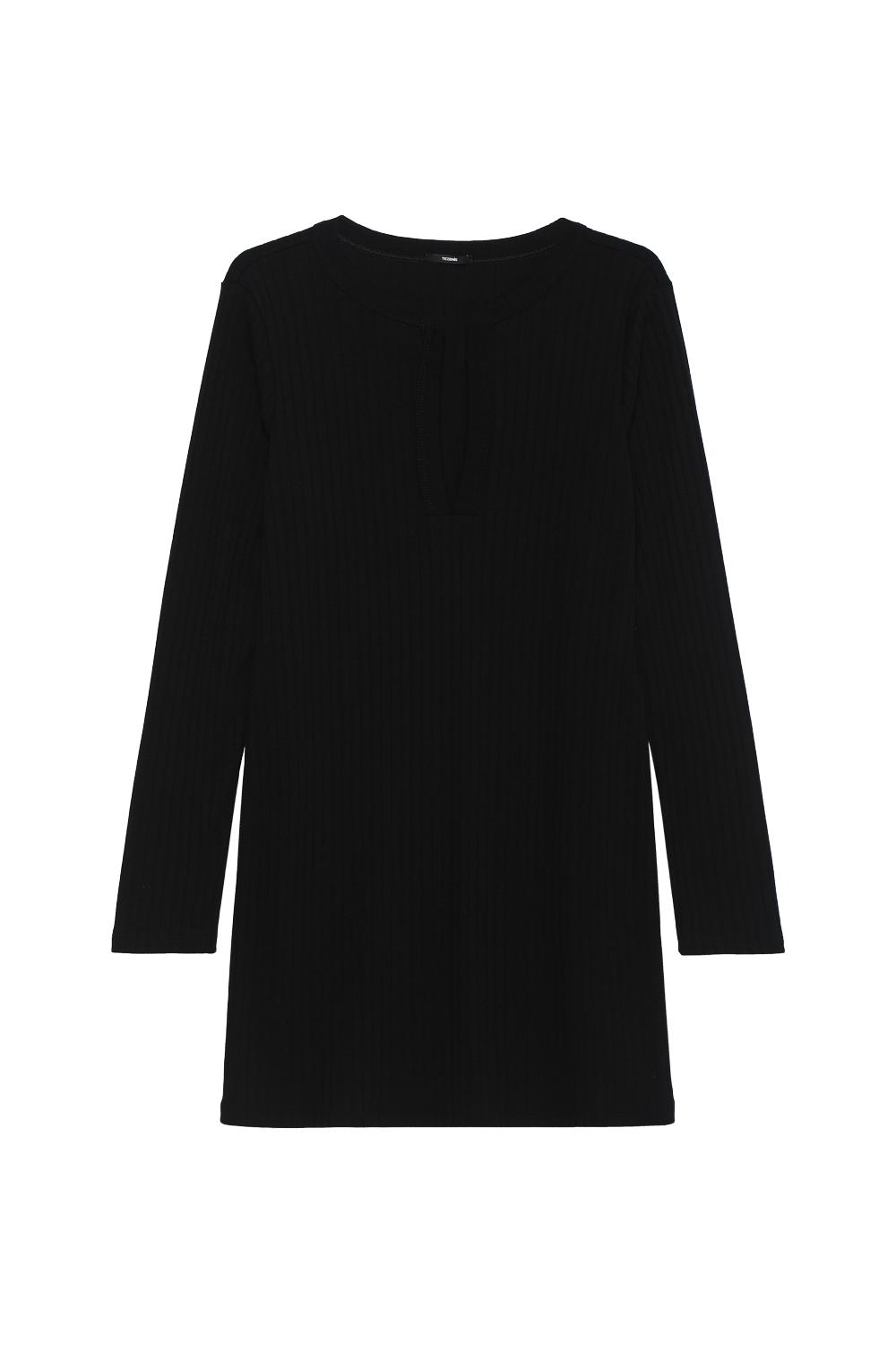 Long-Sleeved Ribbed Dress With Button Detail