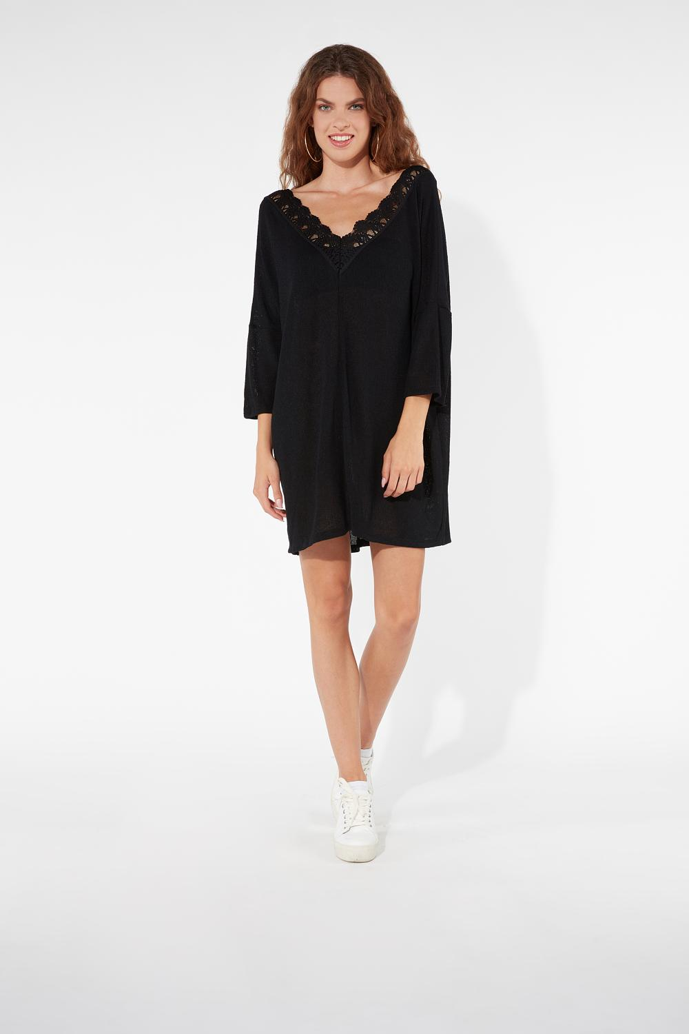 3/4 Length Sleeve Crêpe Knit Dress with Macramé Back