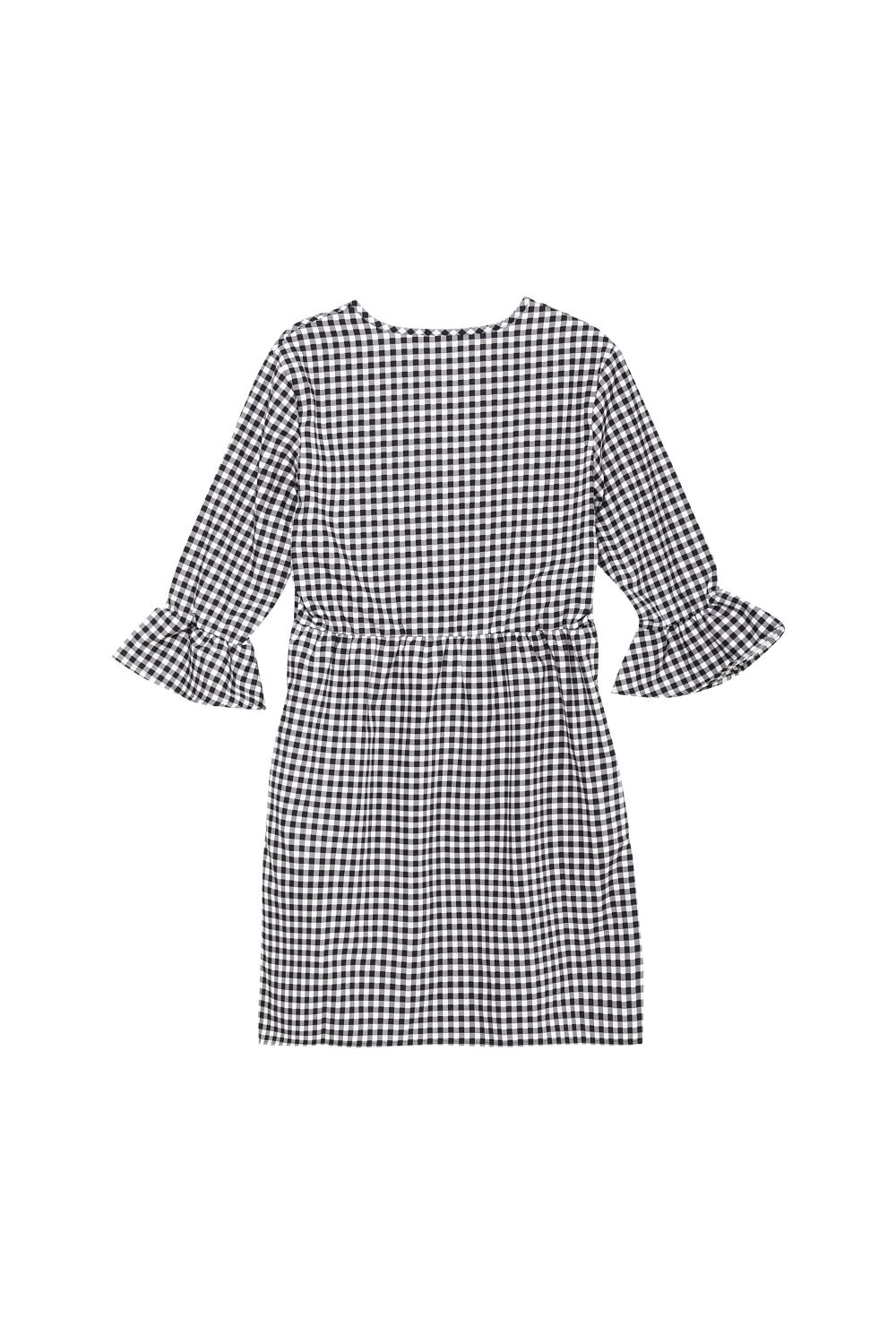 Cotton Dress with 3/4-Length Sleeves