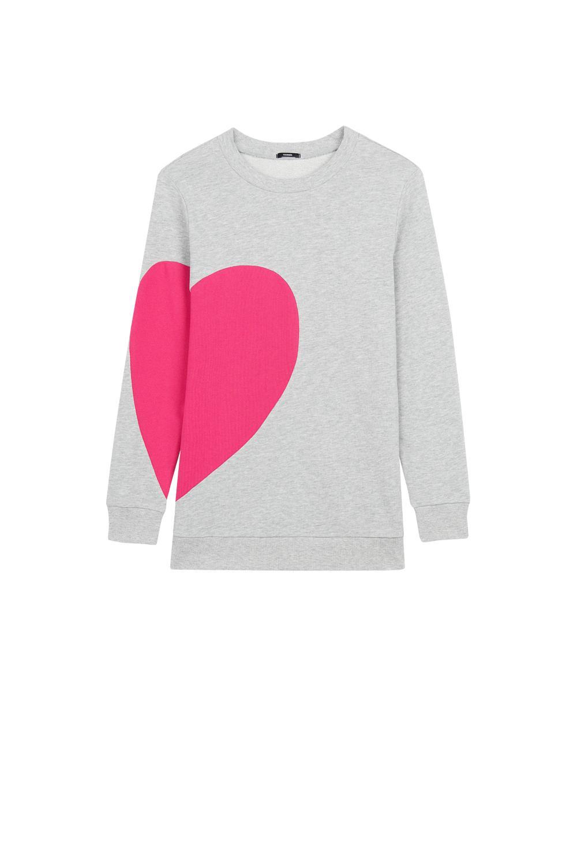 Heart Patch Round Neck Sweatshirt