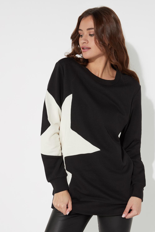 Star Patch Round Neck Sweatshirt