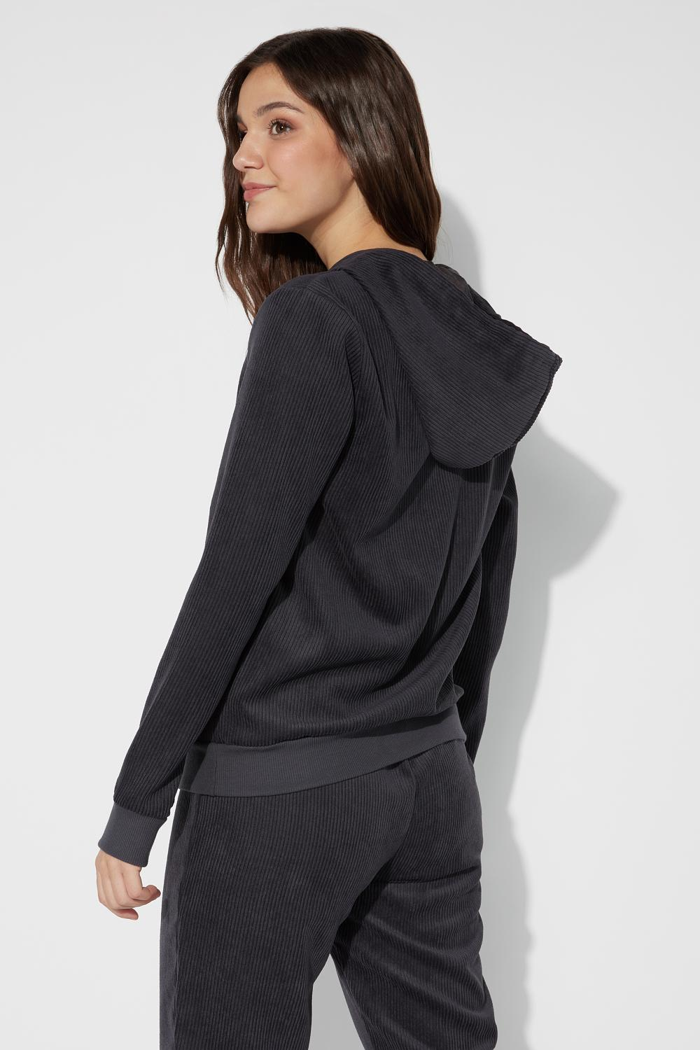 Ribbed Hooded Velvet Sweatshirt