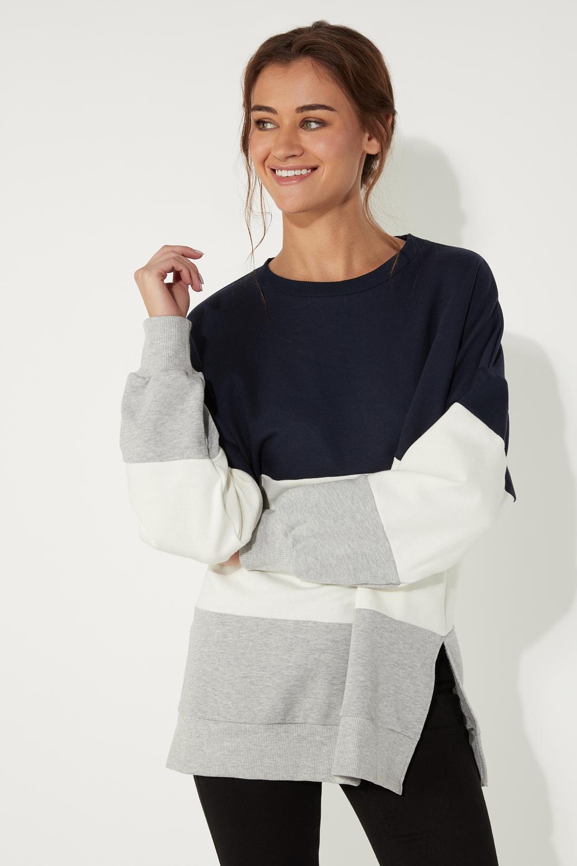 Oversized Color Block Sweatshirt