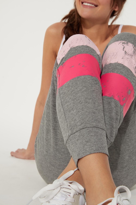 Fleece Jogging Pants with Printed Bands