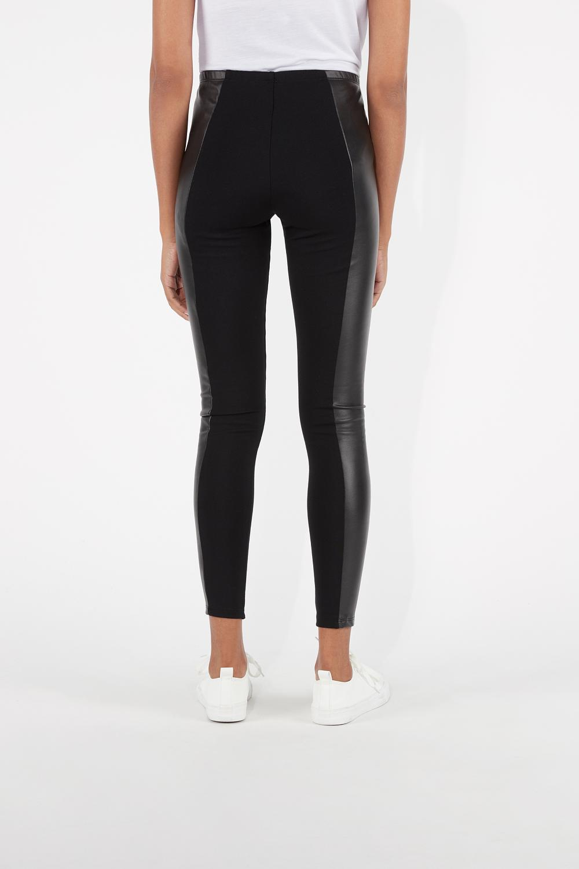Thermal Leatherette Milan-Stitch Leggings