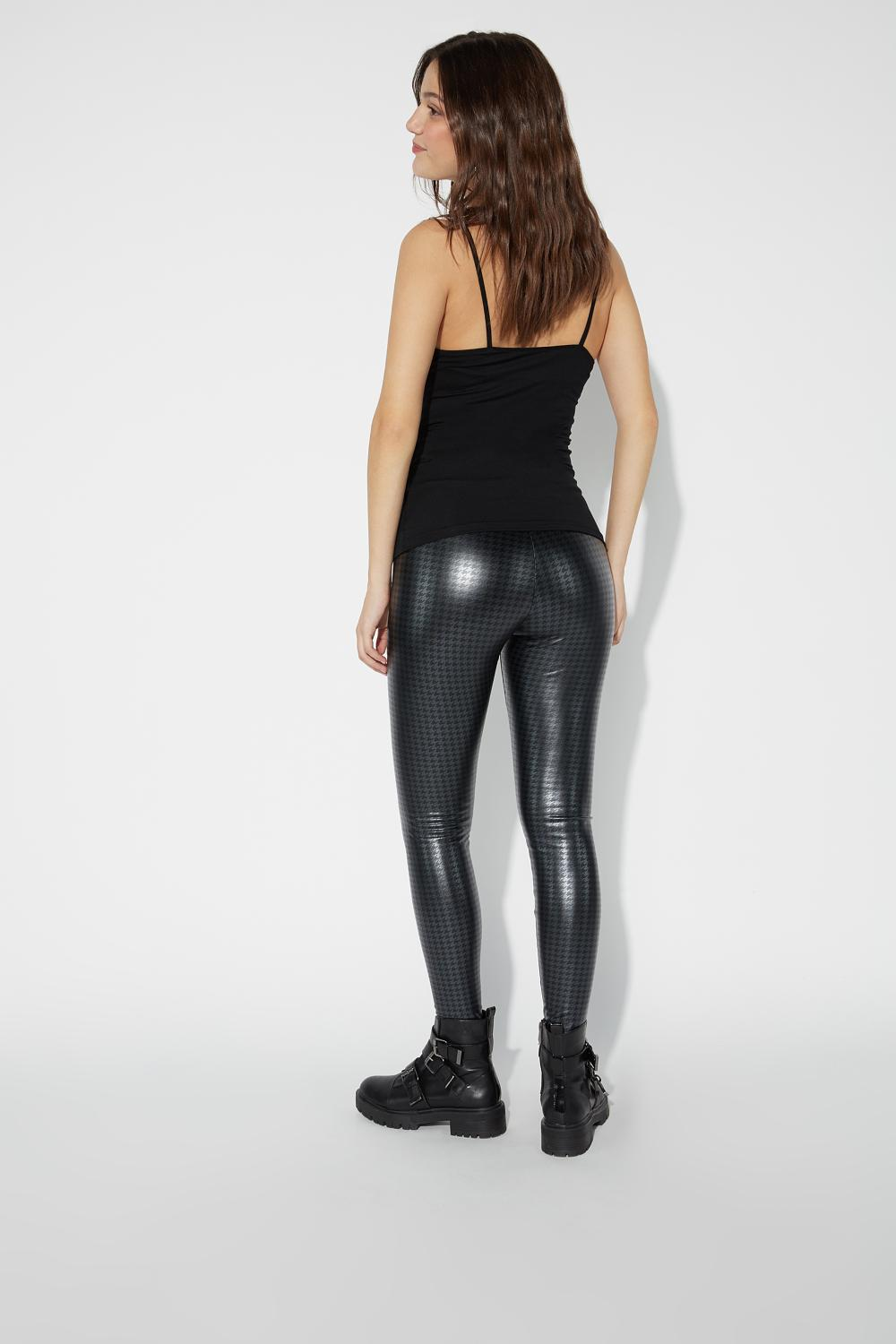 Printed Faux Leather Thermal Leggings
