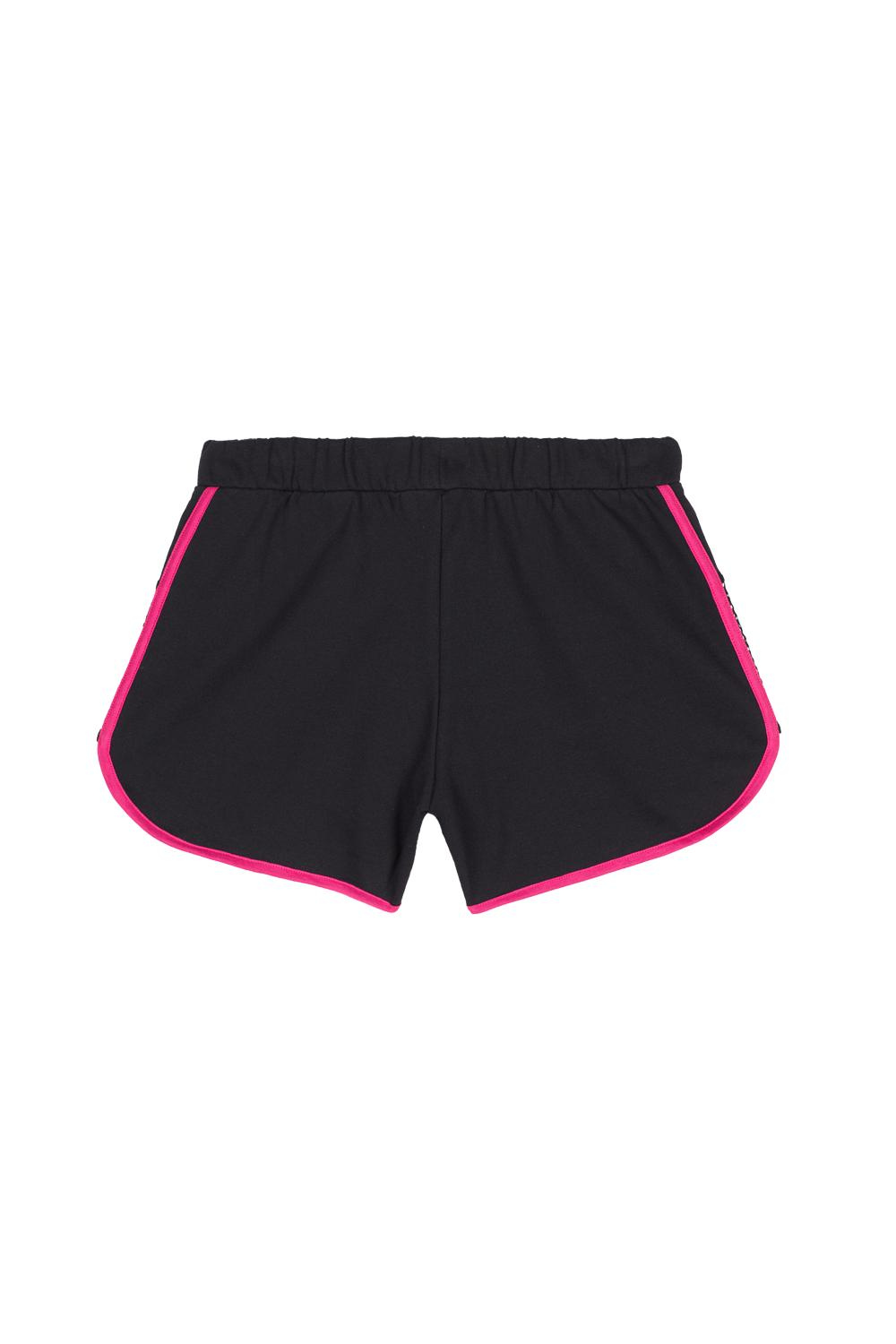 Sporty Shorts in Fleece with Piping and Mesh