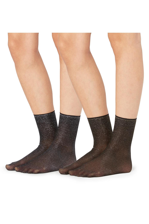 Nepriehľadné Trblietavé Ponožky, 2 Páry